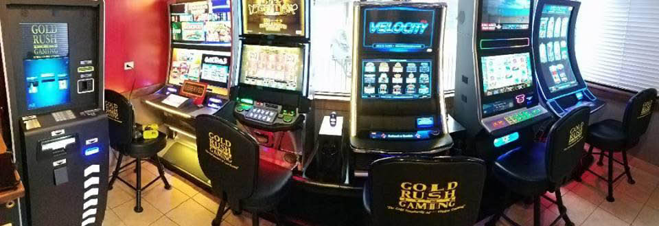 Video gaming by Goldrush Gaming at Premier Fire & Grill.