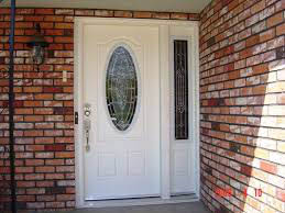 oval window white entry door with right light; Premier Windows and Doors in Fresno
