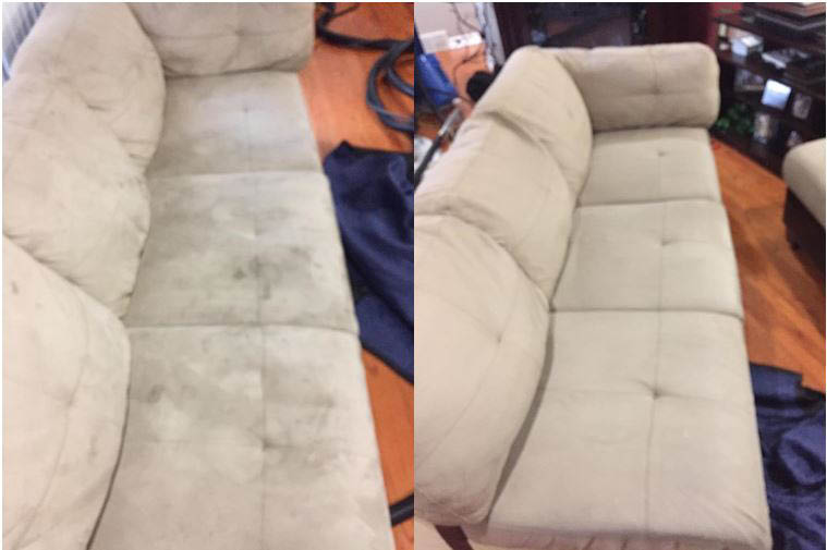Before and after photo of soiled cream couch.