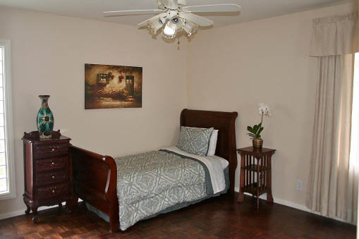 nicely appointed bedroom for assisted living at Astoria Retirement Residences in Newport Beach, CA; Alzheimer's; Dementia care