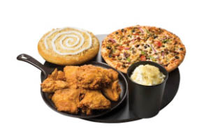 Combo meal with cactus bread, crispy chicken wings, personal pizza and mashed potatoes