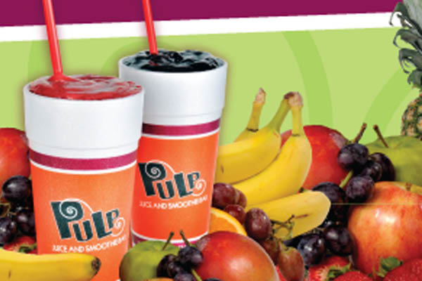 Pulp Juice and Smoothie Bar health drinks.