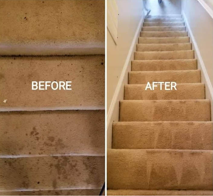 before and after stair cleaning Quality Queen Carpet Cleaning mcdonough georgia