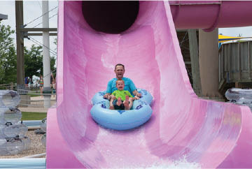 Waterslide at family fun center near Naperville