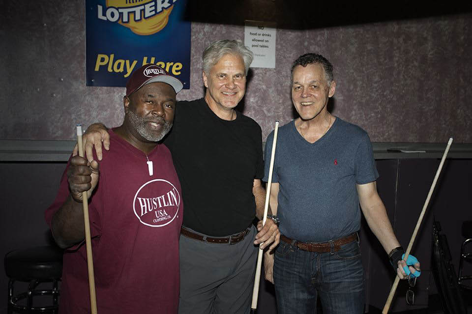 Hall of fame player, authors and friends play at Red Shoes Billiards.
