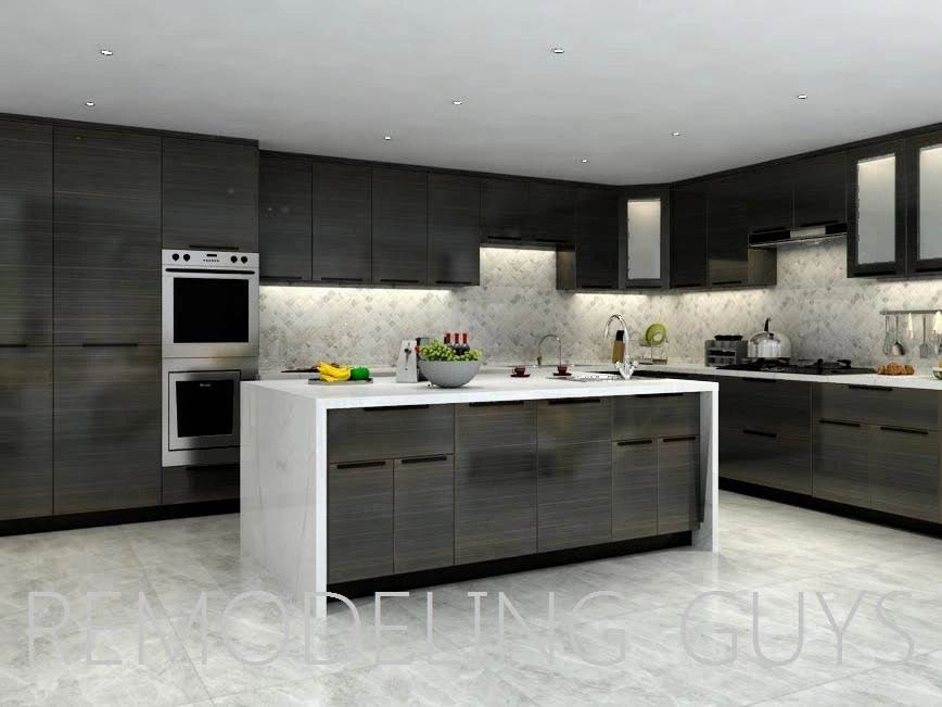 modern remodeled kitchen in gray and white with tile floor; remodelers in Los Angeles