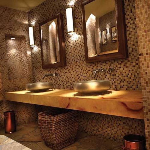 double sink and mirror bathroom in golds and browns with ambient lighting; bathroom remodeling in Ventura county; remodelers