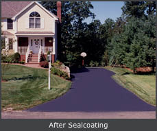 Massachusetts home AFTER Driveway Seal-Coating by US Pavement, Woburn