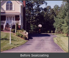 Massachusetts home BEFORE Driveway Seal-Coating by US Pavement