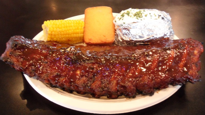 Mindy's Ribs BBQ Restaurant in Mokena rib dinner, cornbread, corn on the cob and baked potato