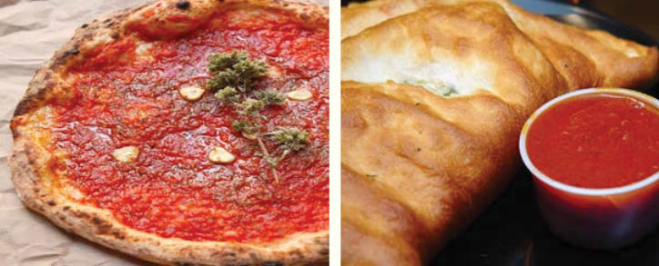 Pizza and strombolis with marinara sauce