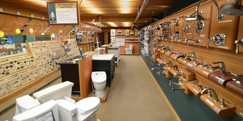 plumbing supplies section at Richert Lumber Ace Hardware near Livermore; faucet repair; bathroom remodeling