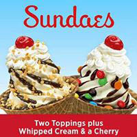 Rita's Sundaes with toppings and cherries on top