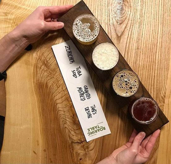 Flight of beers available at Roaring Table Brewery
