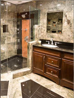 New Bathroom Floors, Vanity Countertops and Cabinets