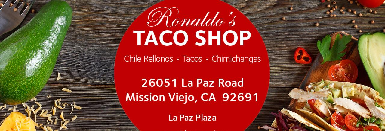 Ronaldo's taco shop mission Viejo ca logo Mexican food coupons near me