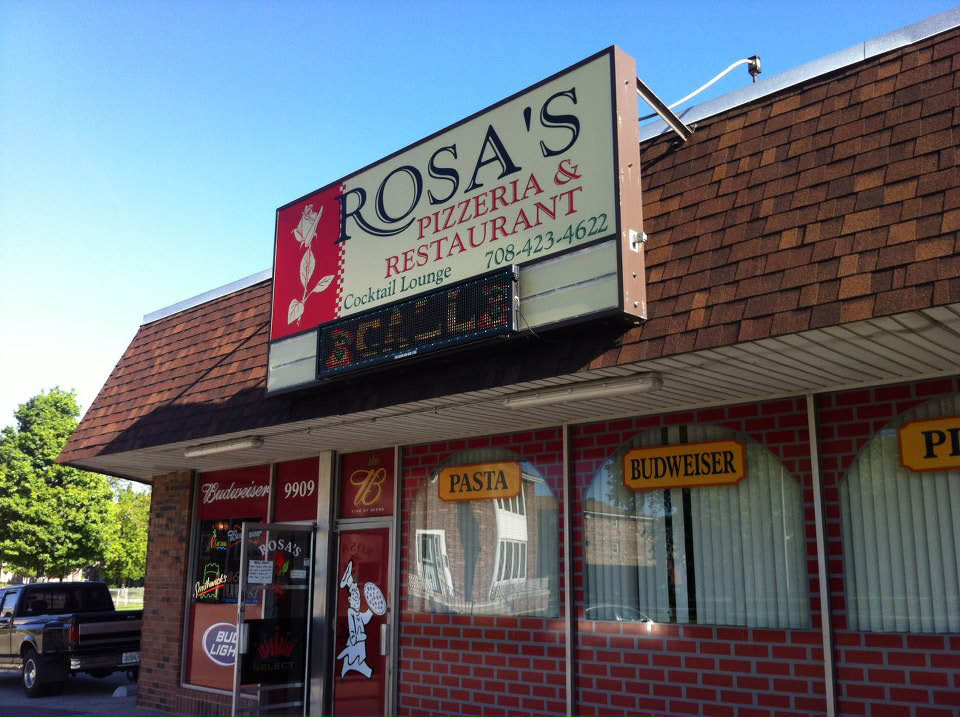 Exterior photo of Rosa's Pizzeria Chicago Ridge, IL.