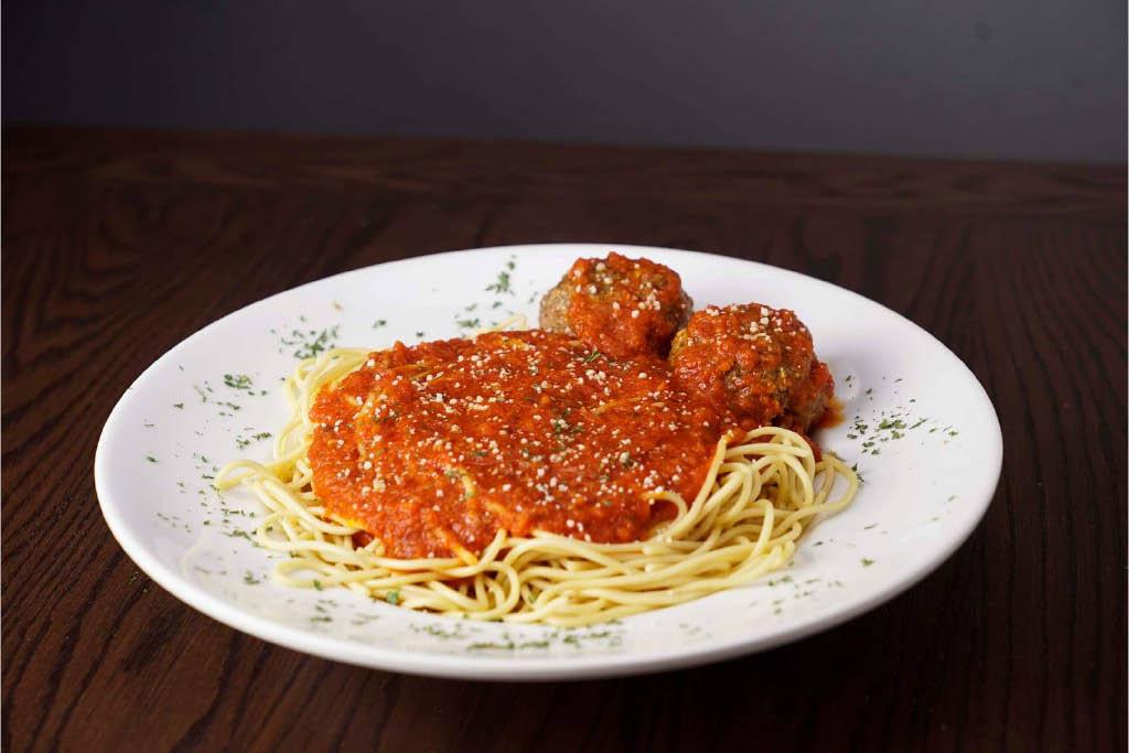 Spaghetti and meatballs at Rosati's