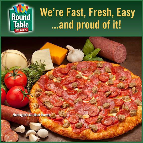 Sausage, pepperoni, cheese garlic and more on this Round Table Pizza