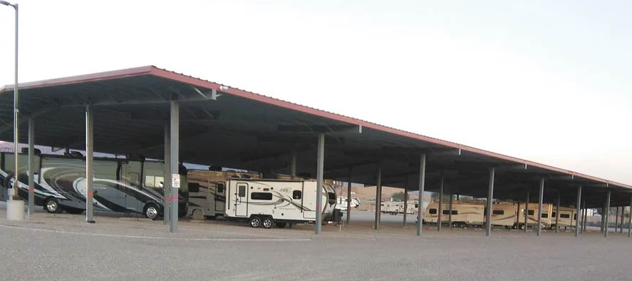 Covered storage spaces offer protection from the NM sun
