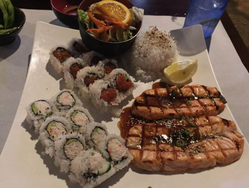 Grilled salmon, crab sushi roll and spicy tuna roll