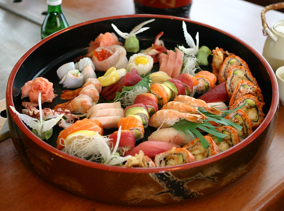 Assorted sashimi and sushi buffet platter