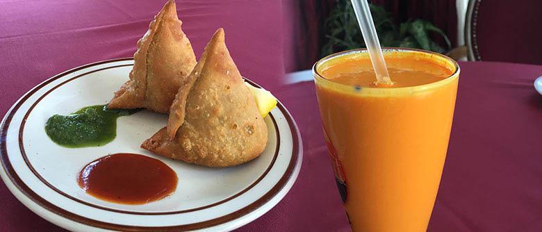 Samosa dish and beverage from Salomi Indian & Bangladeshi Restaurant in North Hollywood, CA