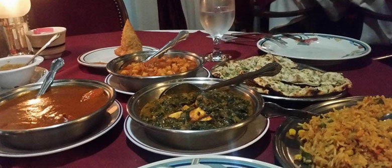 Curry dish and other Indian and Bangladeshi dishes