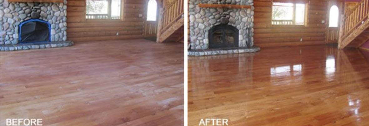 Wood floor refinished - before and after photos