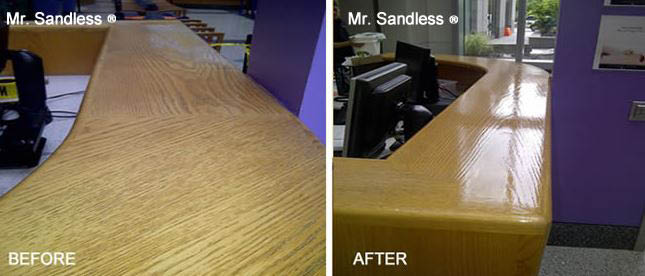 Wood countertop before and after