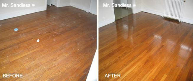 Wood floor before and after refinishing