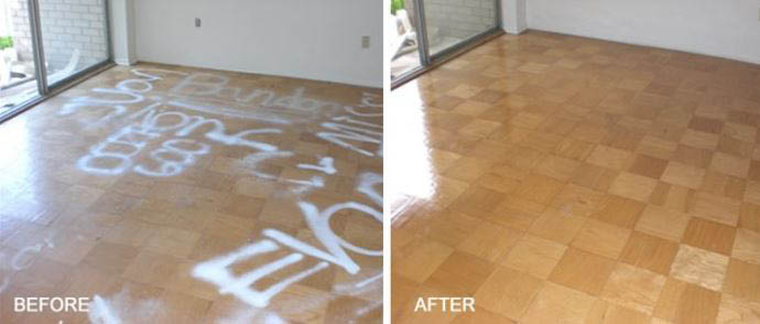 Graffiti floor before and after our refinishing
