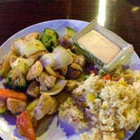 Delicious plated entrees with rice and veggies