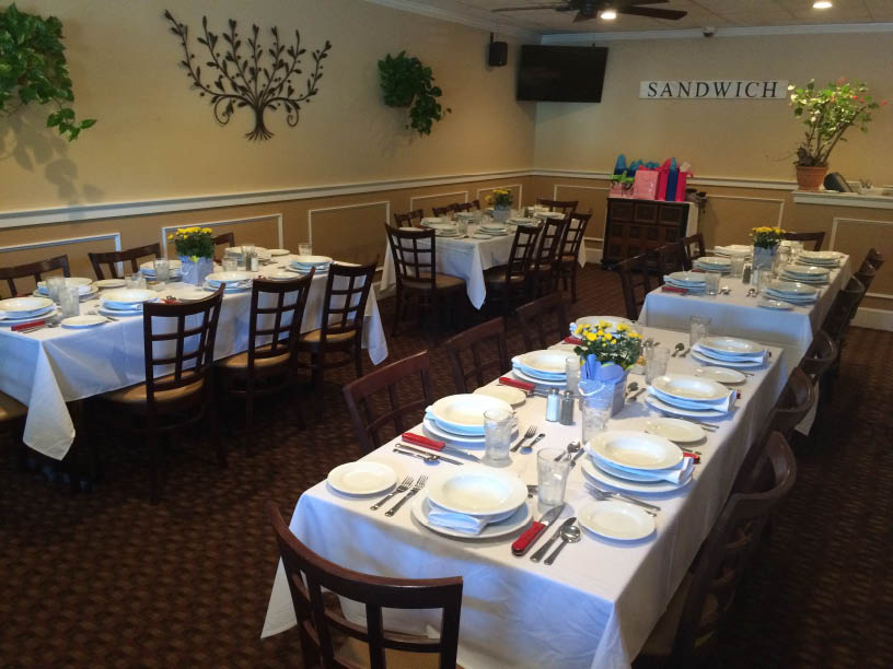 Our function room holds up to 40 people for private events of all types. We have ample parking & have easy access to the upper cape cod area.