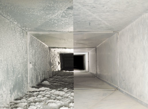 before and after air duct cleaning services from Sears in Houston