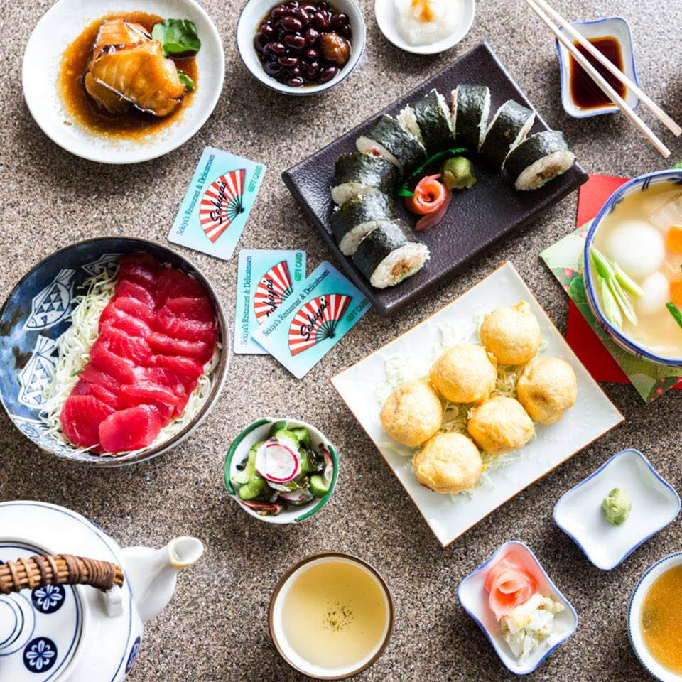 sushi; Hawaiian food; fried butterfish