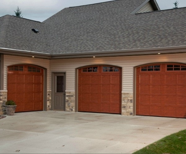 New burgundy garage door installed near Lancaster, PA