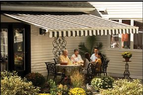New zebra striped awning with a garden near Reading, PA