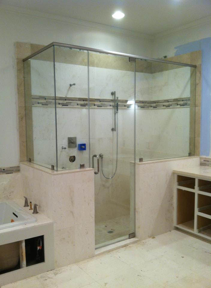 Pink marble with custom glass perfectly fitted near Stafford