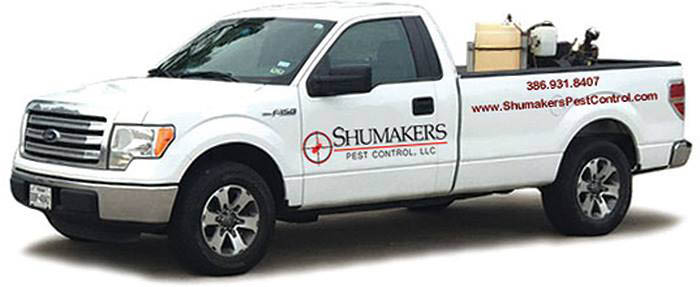 shumakers pest control service truck