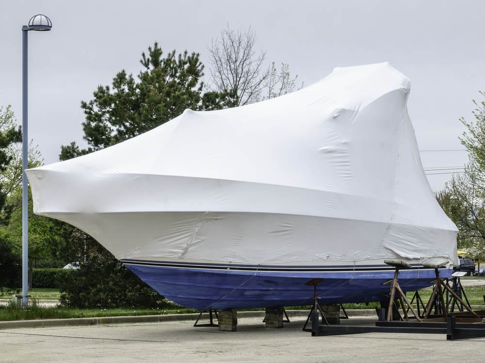 Prestige Yacht Management shrink wrap boat