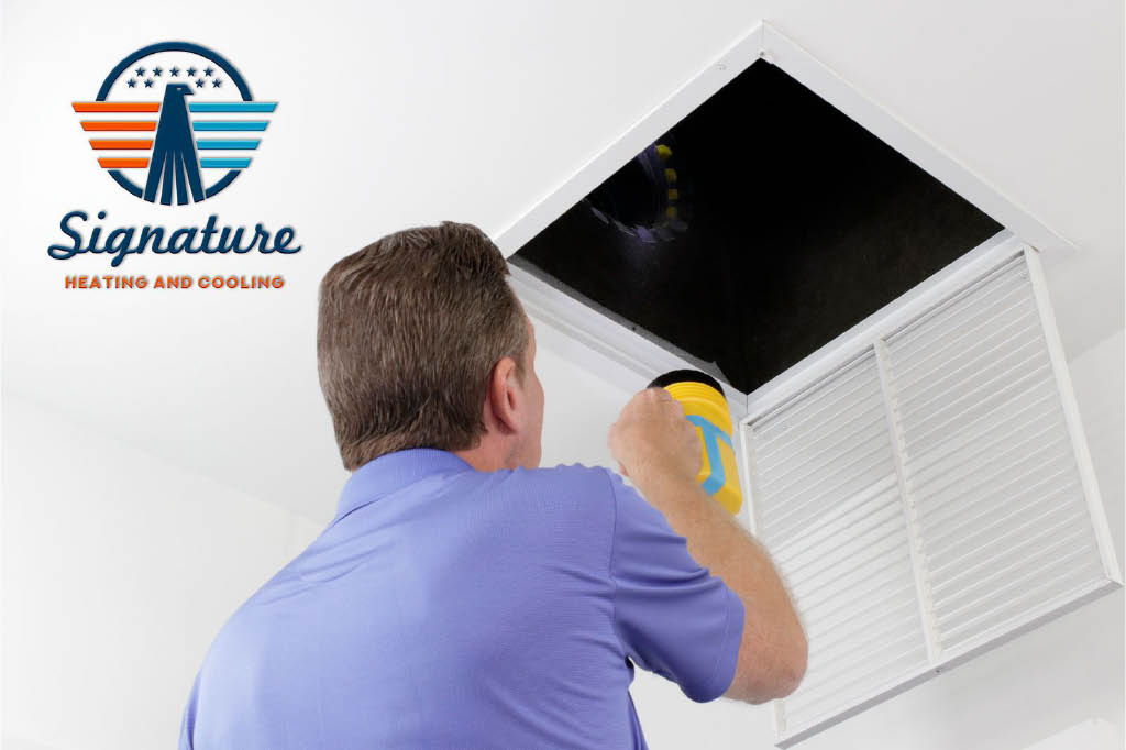 Ventilation duct service by Signature Heating & Cooling