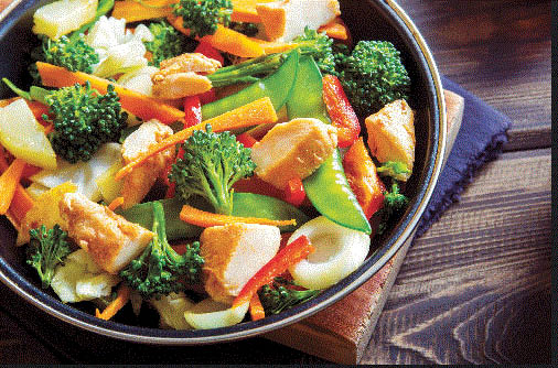 Healthy chicken with broccoli at Sizzle It Asian Bistro in Novi, MI