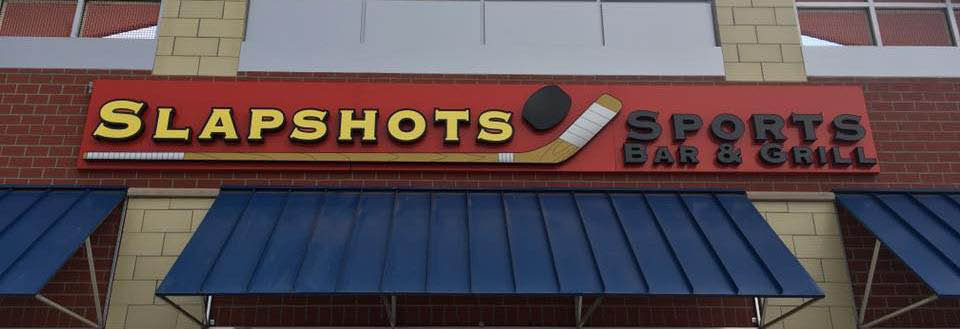 Exterior signage at Slapshots Sportsbar & Grill located in Midlothian, IL.