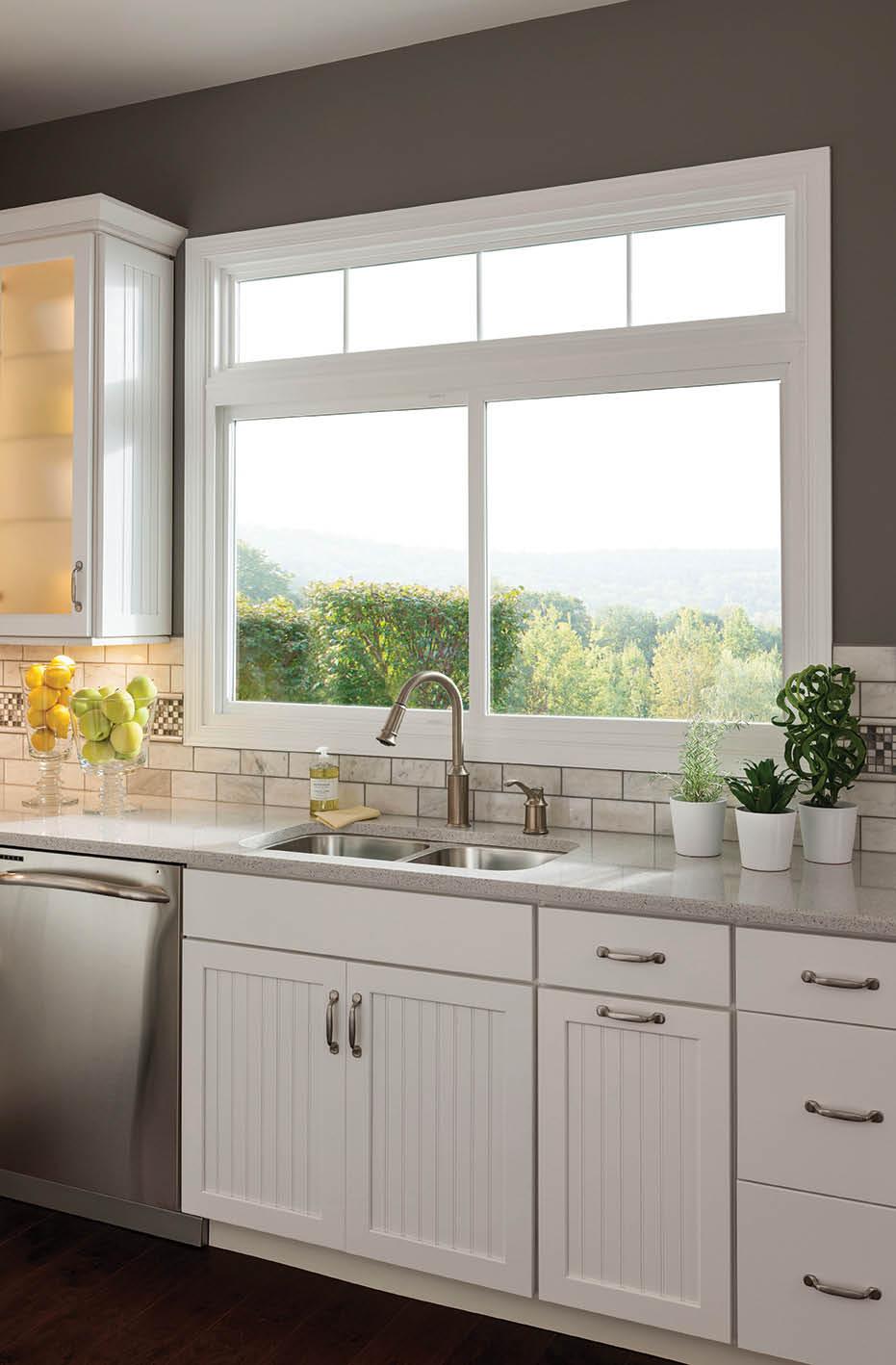 Sliding windows installed in kitchen