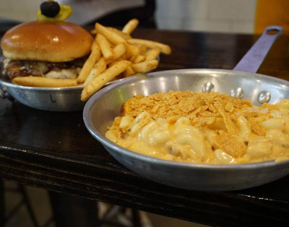 creamy mac and cheese with figgy piggy burger served with hand-cut fries