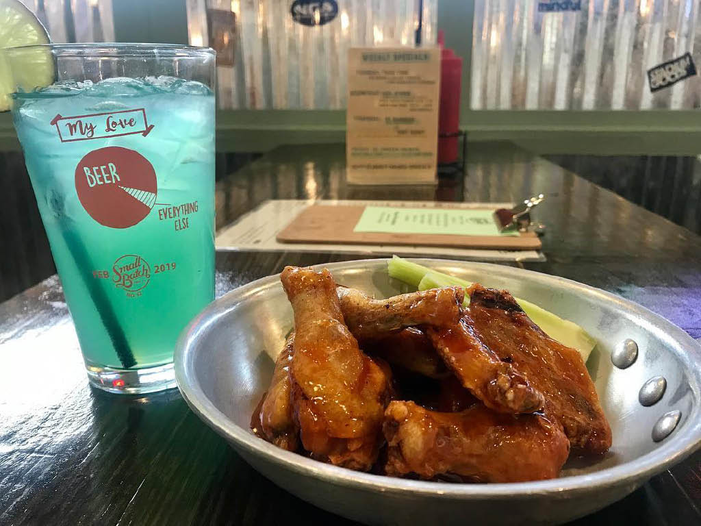 Small Batch's buffalo chicken wings and blue lemonade; High Point, NC