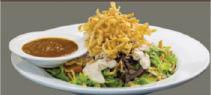 Crispy topping on garden green salad