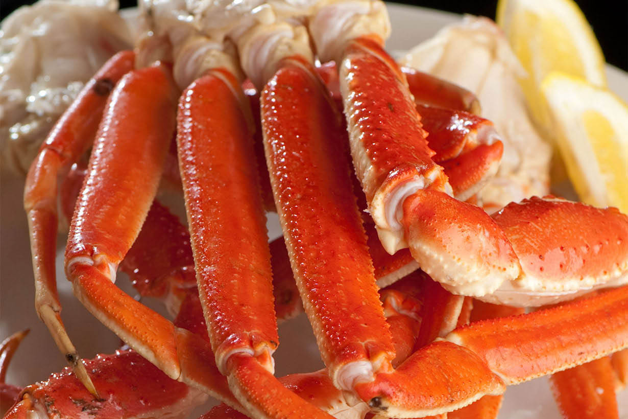 Close up of crablegs at Rosa's in Chicago Ridge.