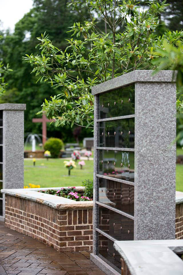 columbarium for cremated remains; memorial park at Southern Cremations & Funerals at Cheatham Hill.